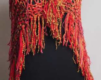 Hand Knit Cape Shawl Red and Gold Sumptuous and Lightweight, Hip Length and Snugly Warm