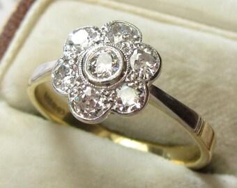 Old Cut 0.71 Carat Diamond Daisy Flower Engagement Ring 18 Carat Gold