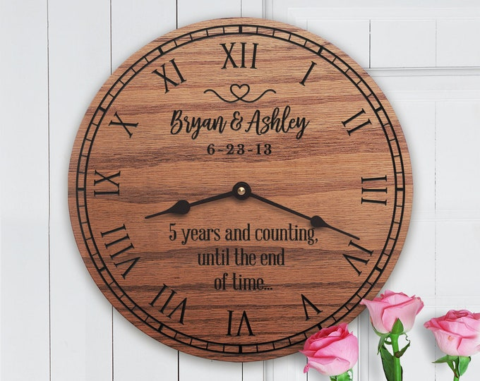 Years and Counting Until the End of Time - Wedding Anniversary Gift - Custom Dates - Names - Special Date - Until the End of Time