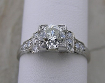 Authentic Antique Diamond Engagement Ring Platinum Circa 1950 Lovely Feminine Details