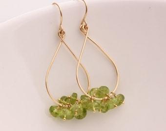 Green Peridot Tear Drop Earrings with 14k Gold Filled August Birthstone Gemstone Cluster - Priscilla