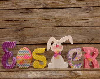 Easter Decor, Spring Decor, Wood Letters, Easter Letter Set with Bunny and Egg.