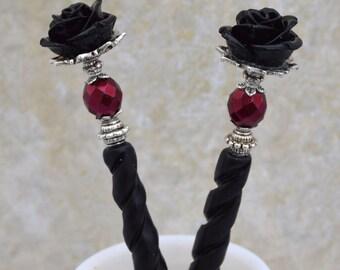 Black Rose Hairsticks   Bella Rosa   Elegant Victorian, gothic wedding, romantic goth, bone hairsticks, gothic lolita, black and burgundy