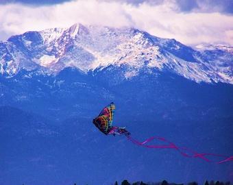 Mountain Photography/ Pikes Peak/ Colorado/ Photo Bomb of Butterfly Kite.