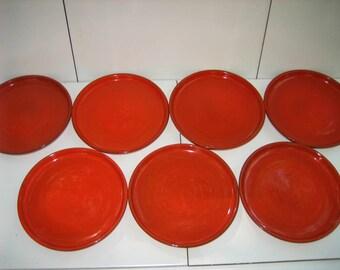 Seven Vintage Burnt Orange Round Ceramic Dessert Tableware Plates