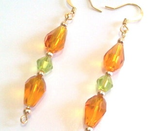 Faceted Amber Glass and Gold Bead Dangle Earrings, Sparkling Handmade Beaded Jewelry, Earrings for Fall, Autumn Jewelry