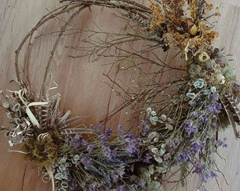 custom centerpiece wreath, dried flower centerpiece, purple wedding centerpiece, lavender centerpiece, lavender wreath, abalone wedding, eco