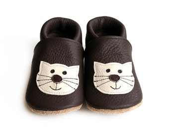 Leather Baby Booties, Baby Shoes, Cat Kitten Infant Newborn Nursery Children Brown Beige