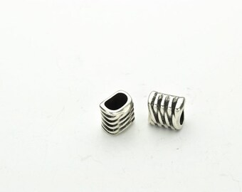 ZZ Spacers Tubes fits 10 x 6mm Licorice Leather Cord - Antique Silver  - (Qty. 2)
