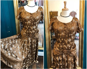 "1950s J&J Model by Palmer Brown Brocade Dress W32"" Large UK14"