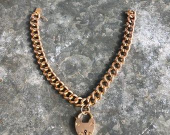 Antique 18k gold link bracelet with 15k padlock