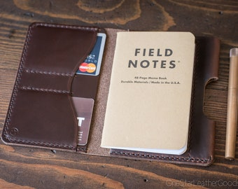 """Field Notes wallet with pen sleeve """"Park Sloper Senior"""" Horween Chromexcel leather - brown"""