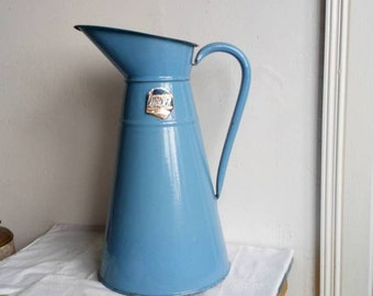 Vintage Blue Enamel, Water Jug,  Enamelware Pitcher, Shabby French Country Decor, Large Vase,