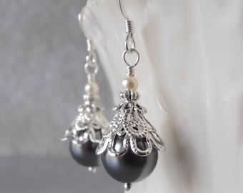 Grey Pearl Earrings Pearl Bridesmaid Earrings Beaded Wedding Jewelry Swarovski Pearl Jewelry Grey Wedding Dark Gray Bridesmaid Jewelry Gift