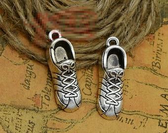 15pcs 27mm x 14mm x 6mm Running Shoe Charms Antique Silver Tone 3D Sneaker - SC2186