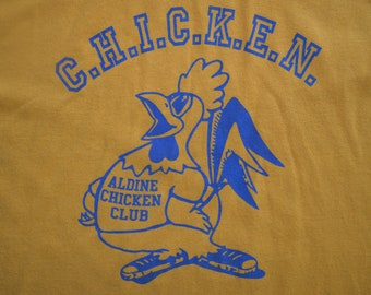 Small // Chicken Club // C.H.I.C.K.E.N. CLUB // DARE // D.A.R.E. // T-shirt // Tee // Yellow // Vintage // Anti-drugs // Drugs