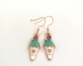 Cute Ice Cream Cone Earrings - Quirky Fun Multi-Coloured Gold Plated Jewellery
