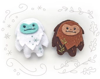 PDF Sewing Pattern for Felt Yeti and Sasquatch, mini felt plush Bigfoot and Snow Monster