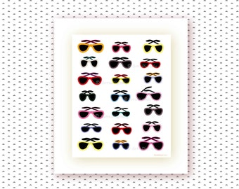 Sunglasses Printable Poster,Fashion Wall Art, Printable Shades,Teen Girls Room,Office Decor,Ilustration,College Dorm Wall Decor, Fashionista