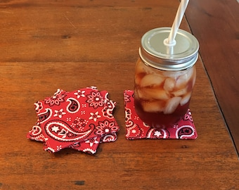 Red Paisley Coasters