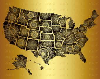 60% OFF, State SVG Mandala Svg 50 United States Zentangle US State American Pride Png Eps Dxf Vinyl Cut All States Decal Silhouette Download