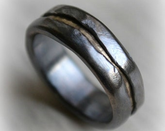 mens wedding band - rustic fine silver and solid 14k yellow gold ring - handmade oxidized artisan designed wedding band - customized