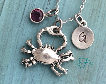 Crab Charm Necklace, Personalized Necklace, Silver Pewter Crab Charm, Custom Necklace, Swarovski Crystal birthstone, monogram