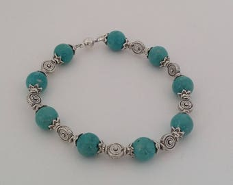 Turquoise and Silver Colored Beaded Bracelet, Beaded Bracelet, Turquoise River Stone Beaded Bracelet