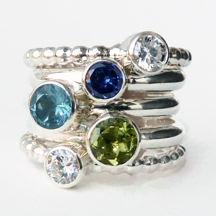 mothers ring 5 birthstone stacking rings family ring. Black Bedroom Furniture Sets. Home Design Ideas