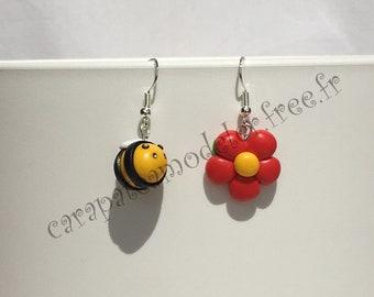 Pair of bee and Flower Earrings
