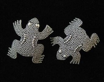 Granulated Sterling Frog Earrings, Post Backs