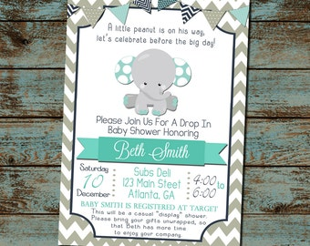 Elephant Baby Shower Invitation, Little Peanut Boy Baby Shower, Drop In Shower, Display Gifts invite, DIY Digital Invitation