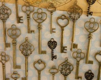 30 skeleton keys steampunk key wedding favor jewelry supply wholesale bronze keys skeleton key set clé ancienne schlüssel baby shower favors