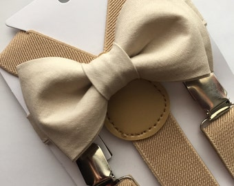 Champagne/gold bow tie and cream/beige suspenders set. Kids/Adults