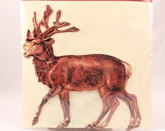 "Vintage Sealed Shackman Double Reindeer Team Greeting Card and Envelope. 7"" by 7 1/2"". 8208"