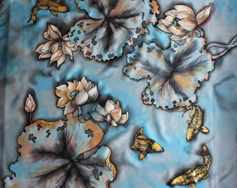 Hand painted silk scarf with lotus and koi fish. Lotus scarf. Japanese koi scarf.  Light blue scarf. Square silk scarf. Made to order.