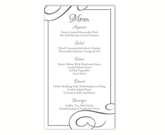 spesso Wedding Menu Template DIY Menu Card Template Editable Text EX24