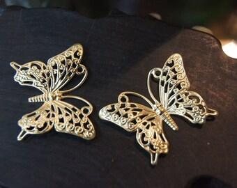 Raw Brass Monarch Butterfly Filigree - 45mm x 37mm - 6 pcs