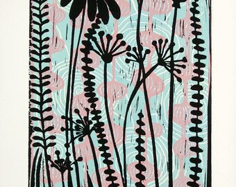linocut print, Meadow, sky blue, pink, lavender, flowers, pods, seeds, nature, printmaking, home interior, contemporary art, purple