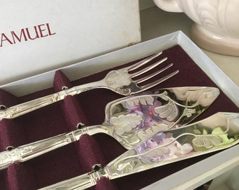 Vintage H. Samuel Silver-Plated Cake Set and Fish Slice