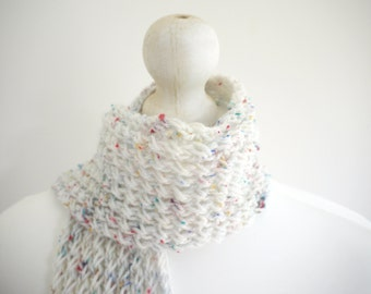 SALE Knitted White /multi ribbed warm autumn / winter scarf with button detail