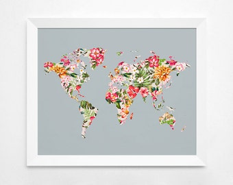 Floral World Map Art Print Instant Download Printable - 16x20 world map