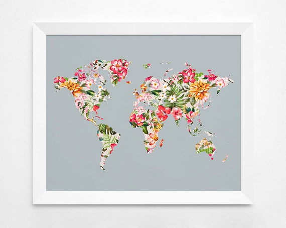 Floral world map poster art print instant download floral world map poster art print instant download printable decor digital art print 8x10 16x20 11x14 world map floral wall decor gumiabroncs Image collections