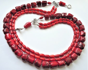 Antique natural red coral necklace