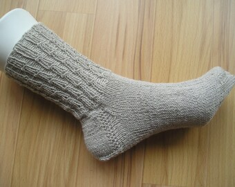 hand-knitted socks with lace pattern on the upper, cotton, size 38
