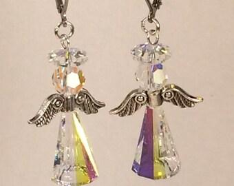 Swarovski Angel Earrings in Crystal Aurora Borealis