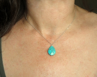 Delicate turquoise necklace, Sterling silver delicate necklace, Silver turquoise necklace, Delicate gemstone necklace, Gifts
