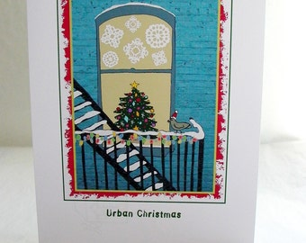 "Christmas Card with Pigeon and Christmas Tree on a Fire Escape - Illustration - ""An Urban Christmas"" - City-theme"