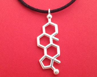 testosterone necklace - molecule of drive and desire - in solid sterling silver