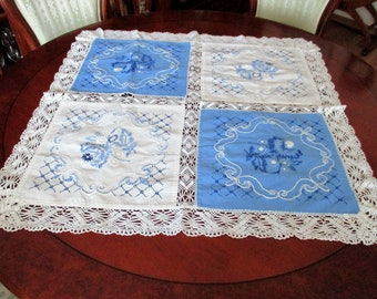 Vintage Hand Embroidered Tablecloth,  Beautiful tablecloth,blue and white,